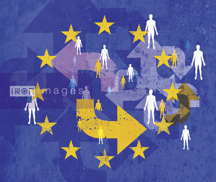 European Union flag with lots of people and confusing arrows pointing in different directions - European Union flag with lots of people and confusing arrows pointing in different directions - Lee Woodgate