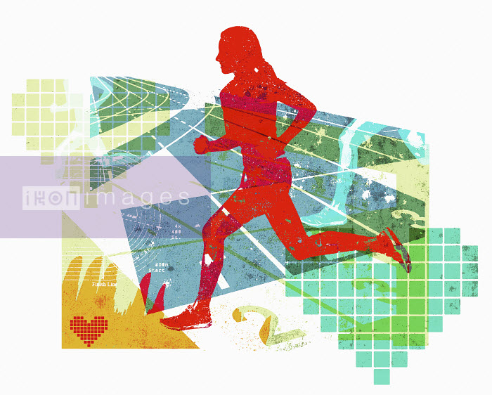 Lee Woodgate - Woman running in healthy fitness collage