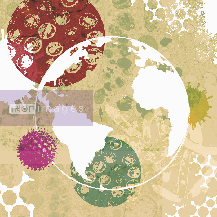 Lee Woodgate - Globe surrounded by bacteria and viruses