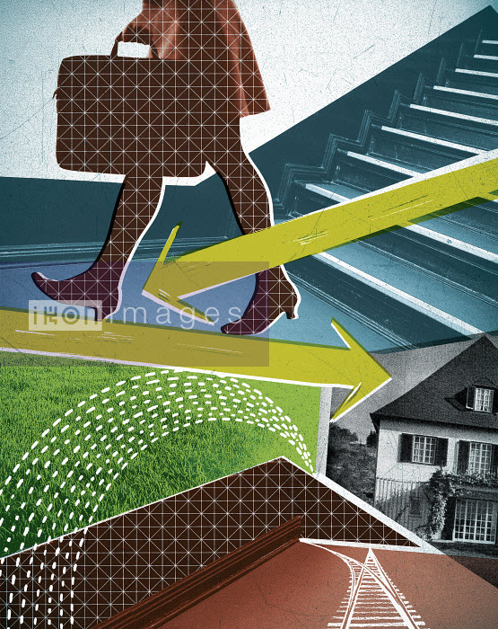 Lizzie Roberts - Businesswoman walking away from home with arrows and paths