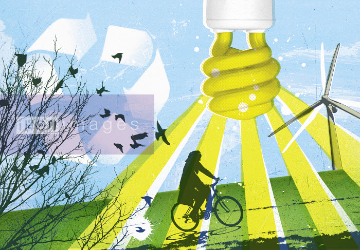 Lizzie Roberts - Woman riding bike with low energy light bulb, recycling symbol and wind turbine
