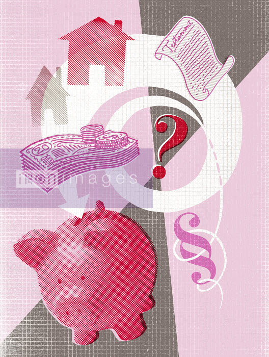 Lizzie Roberts - Question mark with piggy bank, house, money and will