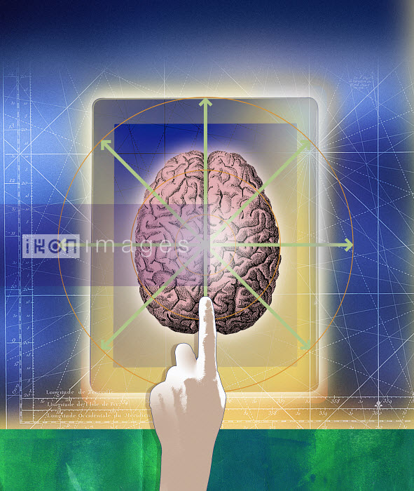 Roy Scott - Finger pointing to brain on digital tablet