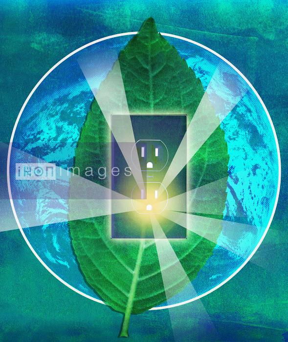 Roy Scott - Sunbeams glowing from electrical socket in leaf on globe