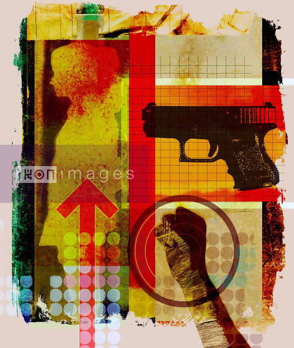 Roy Scott - Collage of woman's silhouette, clenched fist and gun
