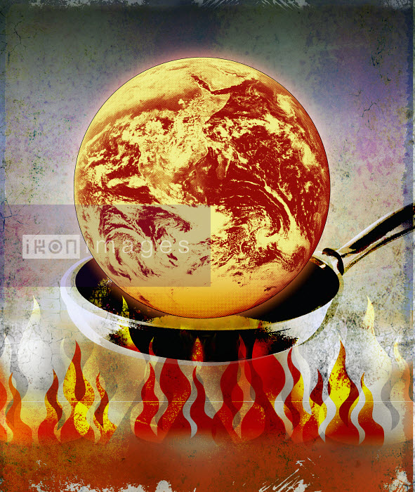 Roy Scott - Globe burning in pan over flames