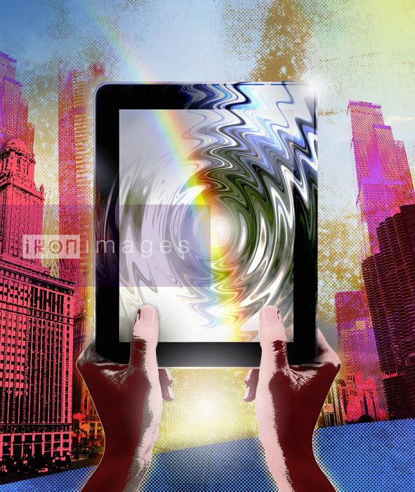 Roy Scott - Rainbow over rippling digital tablet in city street