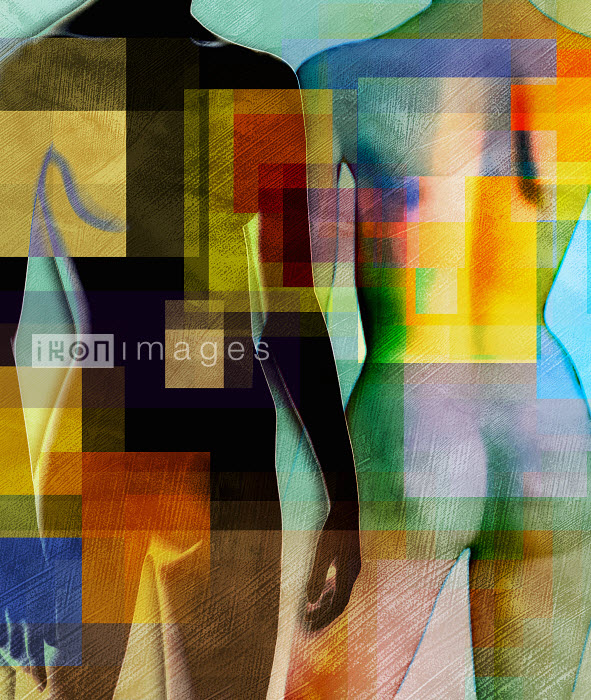 Multicolor squares over female nude bodies - Multicolor squares over female nude bodies - Roy Scott