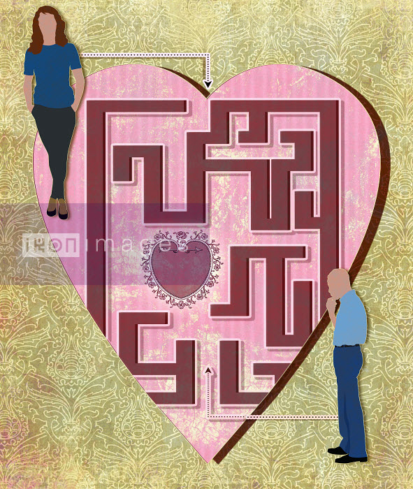 Man and woman at opposite ends of heart love maze - Man and woman at opposite ends of heart love maze - Roy Scott