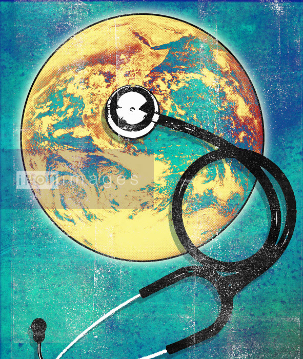 Roy Scott - Stethoscope on planet earth globe