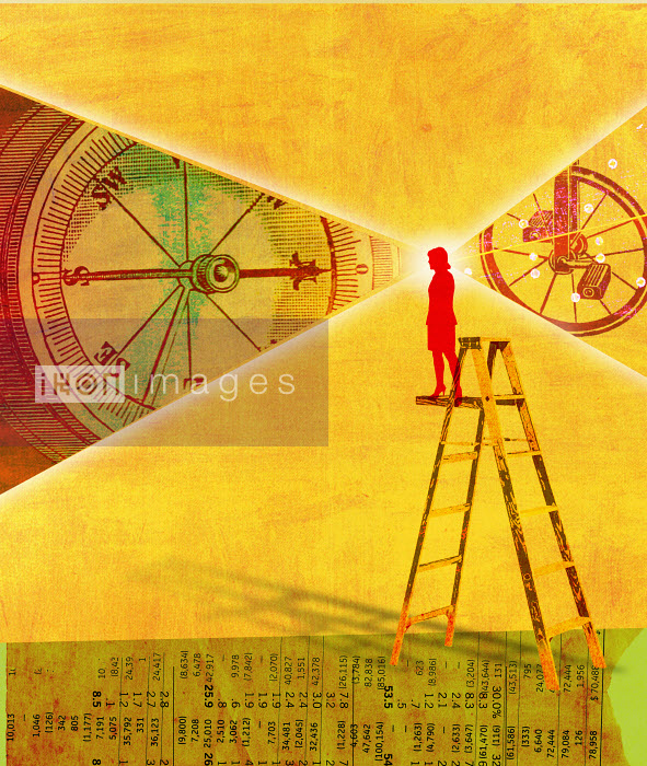Roy Scott - Woman on ladder standing on stock prices viewing compass and wheel turning