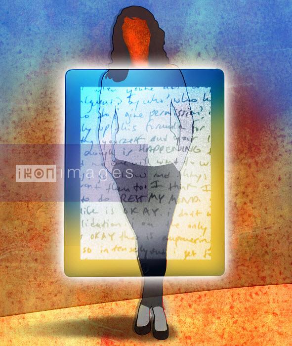 Roy Scott - Woman standing behind transparent digital tablet with handwritten text
