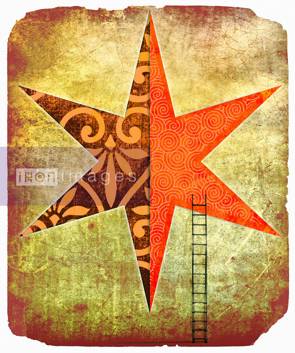 Roy Scott - Ladder leaning against star with contrasting patterns