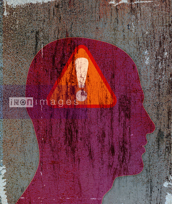 Roy Scott - Exclamation point warning sign inside of silhouette of man's head
