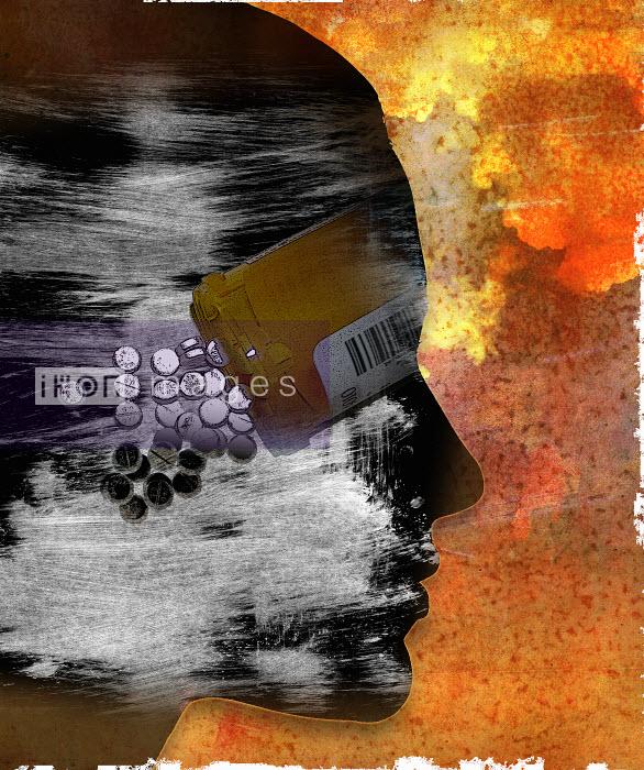 Roy Scott - Prescription bottle and pills over woman�s face