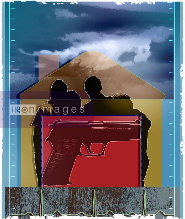 Roy Scott - Gun over silhouette of family in house