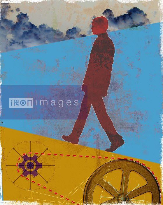 Roy Scott - Unmotivated businessman walking uphill above cogs
