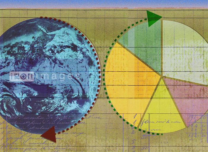 Roy Scott - Arrows around globe and pie chart