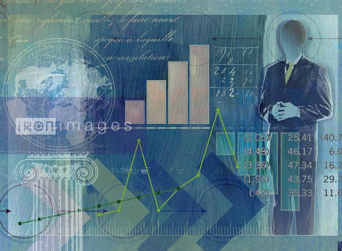 Roy Scott - Businessman, globe, data, graphs and financial figures