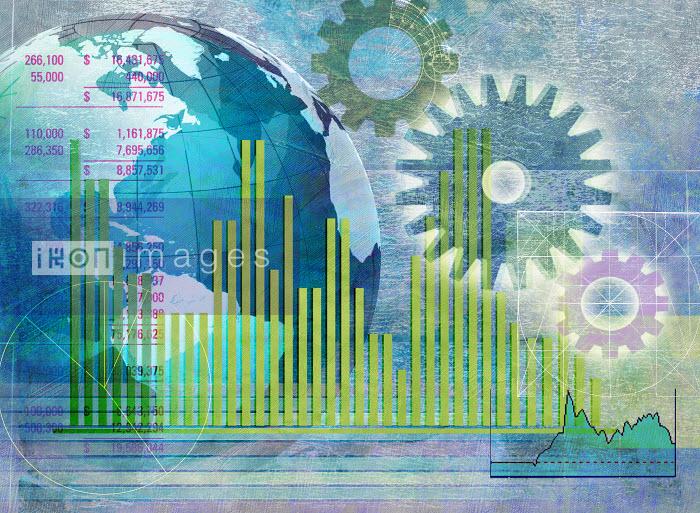 Roy Scott - Globe, cogs, bar graphs and financial figures data