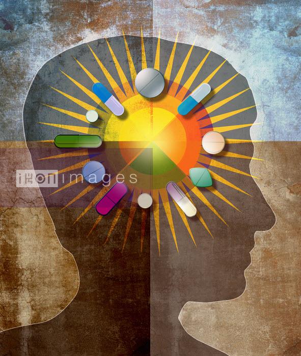 Roy Scott - Variety of pills around pie chart inside of man's head