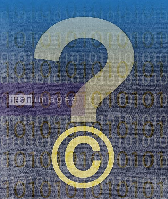 Roy Scott - Copyright symbol question mark with digital binary code