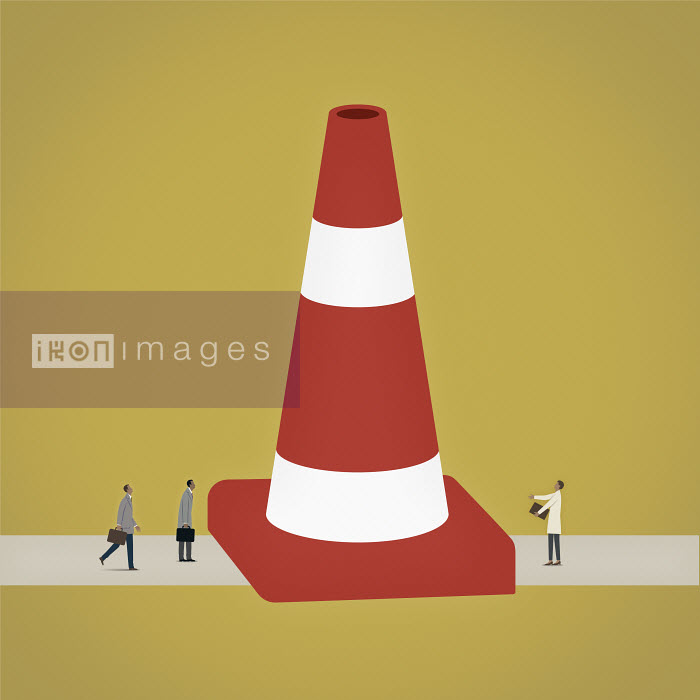 Mark Airs - Frustrated business people separated by large traffic cone blocking the road