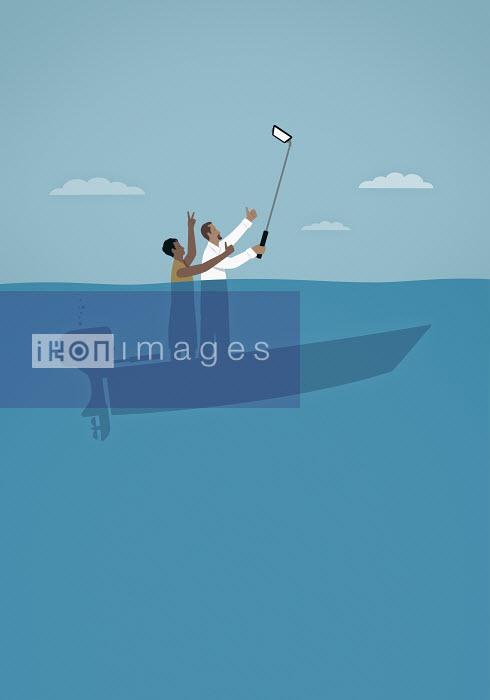 Couple taking selfie on sinking boat - Couple taking selfie on sinking boat - Mark Airs