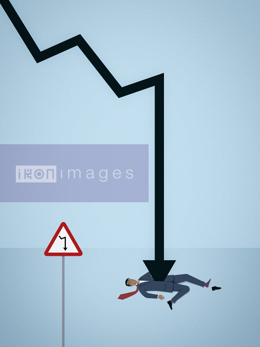 Mark Airs - Businessman impaled by decreasing line graph arrow despite warning sign