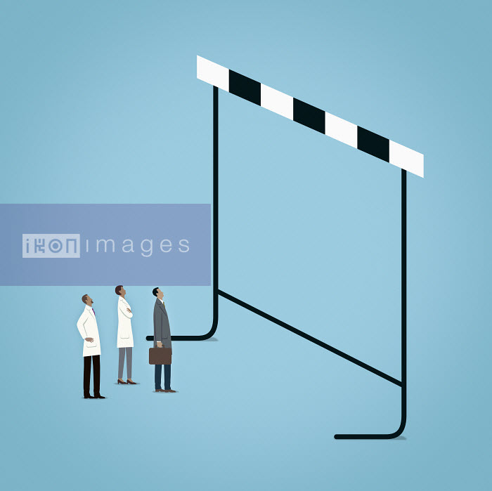 Mark Airs - Scientists and businessman looking up at large hurdle