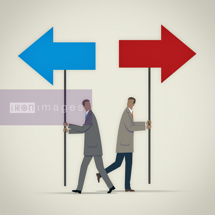 Mark Airs - Businessman carrying blue arrow on pole pointing in opposite direction to man with red arrow