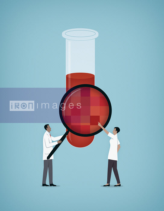Mark Airs - Doctors look at a blood sample