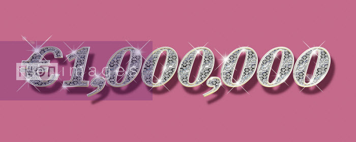 Dave Higginson - Sparkling diamonds inside of one million Euro number on pink background