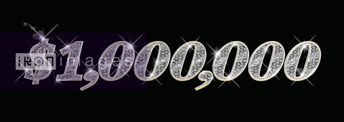 Dave Higginson - Sparkling diamonds inside of one million dollars number on black background