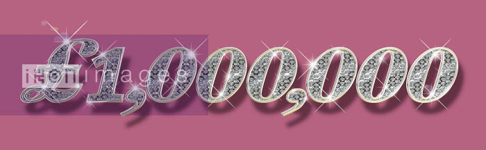 Dave Higginson - Sparkling diamonds inside of one million British pounds number on pink background