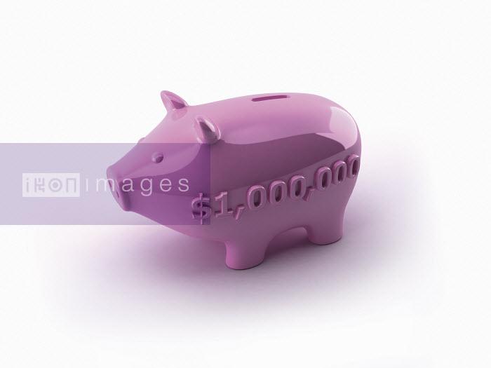 Dave Higginson - One million dollars number on side of pink piggy bank