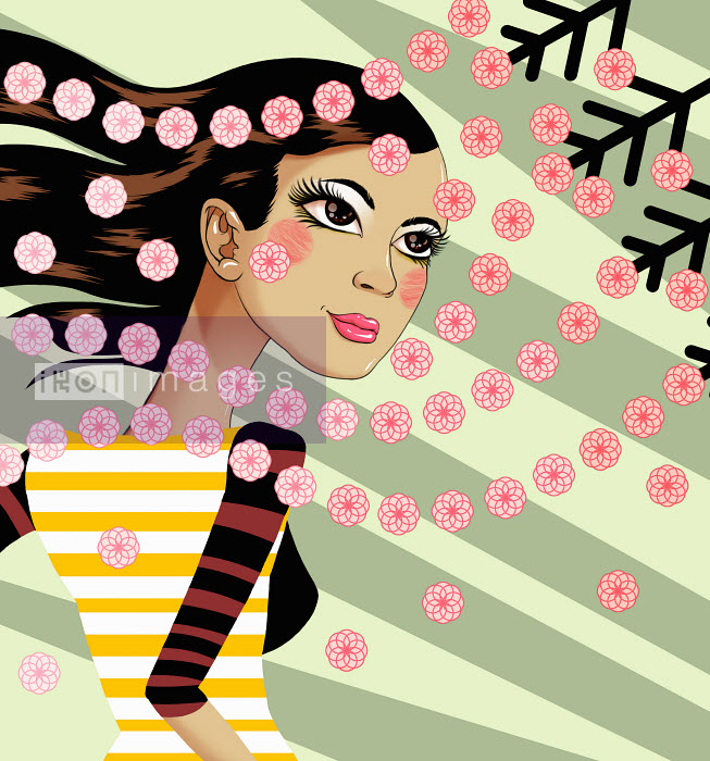 Andy Ward - Beautiful young woman looking at falling blossom