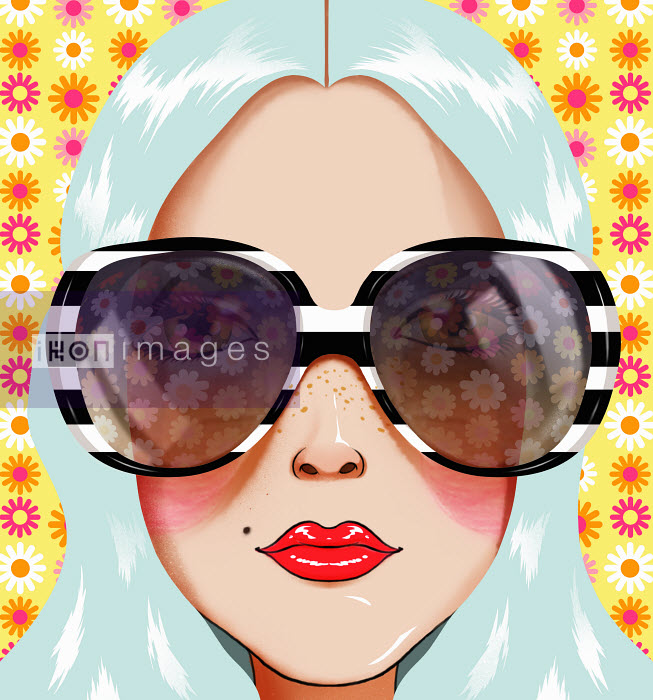 Andy Ward - Close up portrait of young woman with blue hair wearing sunglasses