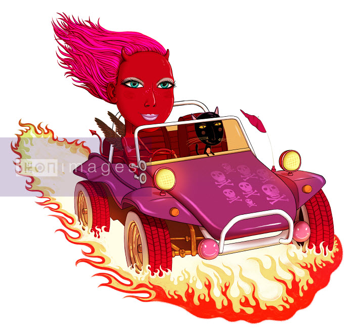 Andy Ward - Woman with devil horns riding in dune buggy with cat