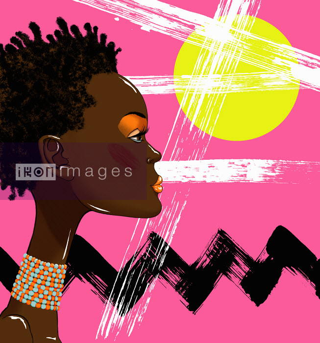 Andy Ward - Close up of beautiful woman in front of bright color abstract pattern