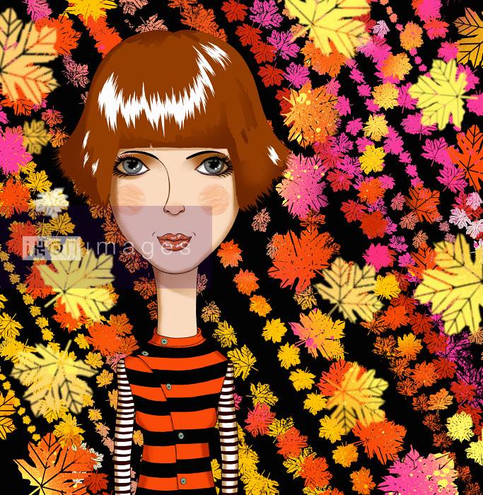 Andy Ward - Serious young woman in front of colorful autumn leaf pattern