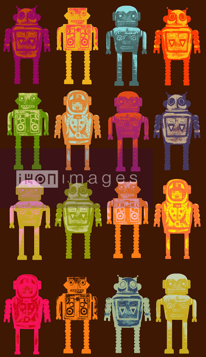 Andy Ward - Pattern of variety of robots in a row