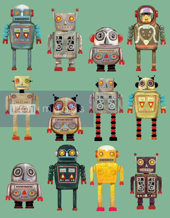 Andy Ward - Variety of robots in a row