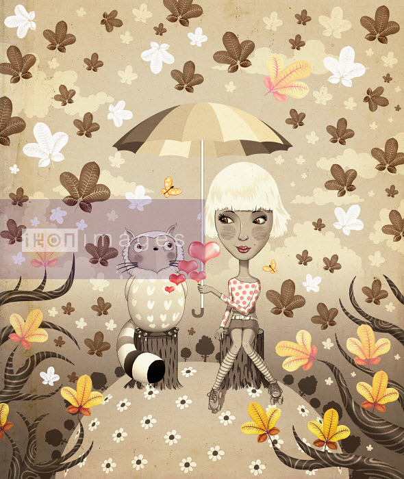 Andy Ward - Affectionate teenage girl and cat under umbrella with autumn leaves falling