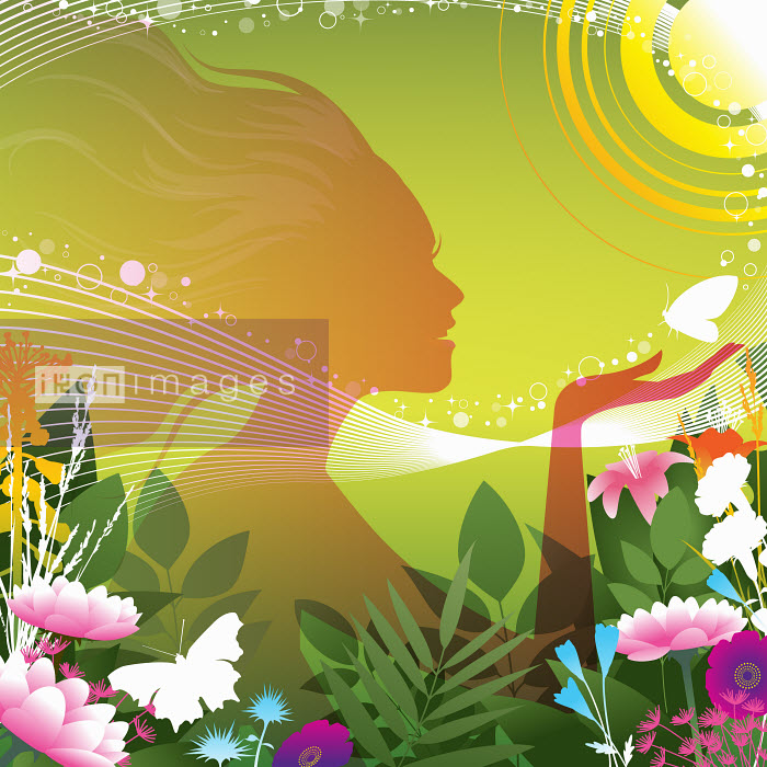 Dan Sipple - Silhouette of happy woman holding butterfly in colorful summer flowers