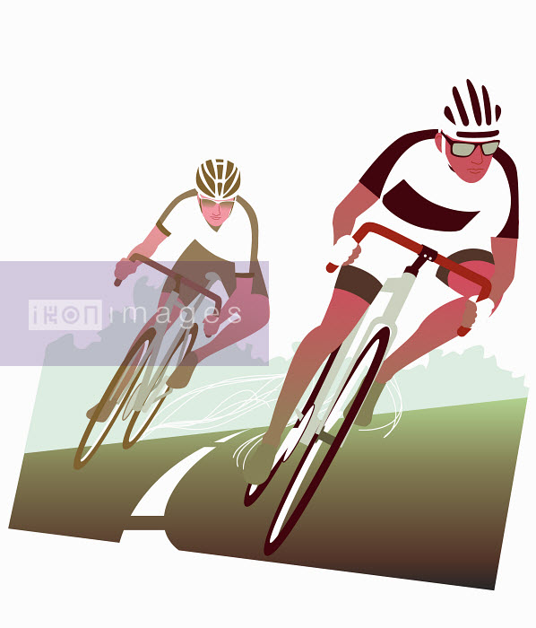 Dan Sipple - Cyclists racing around bend in road