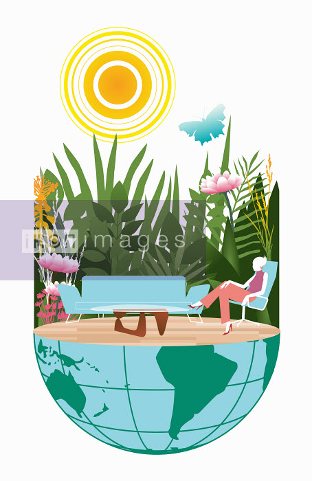Dan Sipple - Woman sitting on modern furniture on wooden floor covering half of globe surrounded by nature