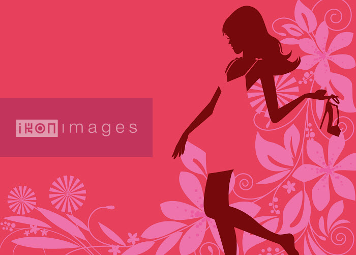 Dan Sipple - Glamorous woman silhouette holding high heel shoe with pink flower pattern background