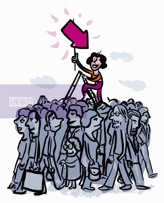 Woman on ladder holding pink arrow standing out from the crowd below - Woman on ladder holding pink arrow standing out from the crowd below - Jens Magnusson