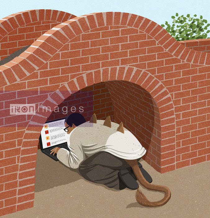 Man as troll hiding under bridge online trolling - Man as troll hiding under bridge online trolling - John Holcroft
